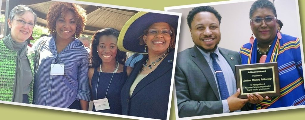 Left: (L-R) Harriett Jane Olson, Jessica Love, Jalen Lawson and Yvette Richards at United Methodist Women Assembly (2014); Right: Dr. Cynthia Bond Hopson presents Rev. Kevin Kosh with award for campus ministry