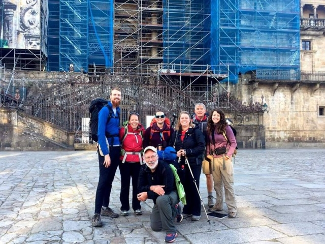 """Sojourn 2017 in front of the """"House of Saint James,"""" the Cathedral in Santiago: the endpoint of our pilgrimage"""