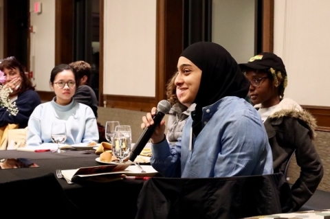 A Muslim student speaking at an intersection conference