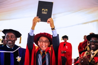 Dr. Ken Yamada receives an honorary doctorate from African University.