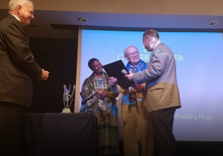 Rev. Dr. James T. Laney accepts the award.