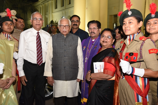 Honorable Shri Ram Naik, governor of the Indian state of Uttar Pradesh, Bishop Dr. Phillip S. Masih, Lucknow Episcopal Area and Dr. Elizabeth Charles, President, Isabella Thoburn College