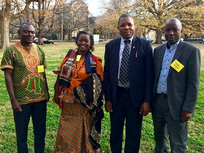The CCTEF members and screening committee from the Congo Central Conference: (L-R) Rev. Mbumba Kaiva Faustin, Rev. Rde Katchiko Furaha Esther, Bishop Daniel Lunge Onashuyaka, Rev. Clement Chijka Kongolo