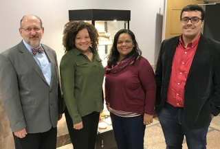 (L to R) Paulo Garcia, Danecia Jones (GBHEM), Blanches Paula (Faculdade de Teologia) and Demétrio Soares during the group's March 2018 visit.