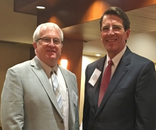 Greg Bergquist (Left), GBHEM associate general secretary for the Division of Higher Education and University Senate executive secretary with Rock Jones, University Senate president and president at Ohio Wesleyan University.