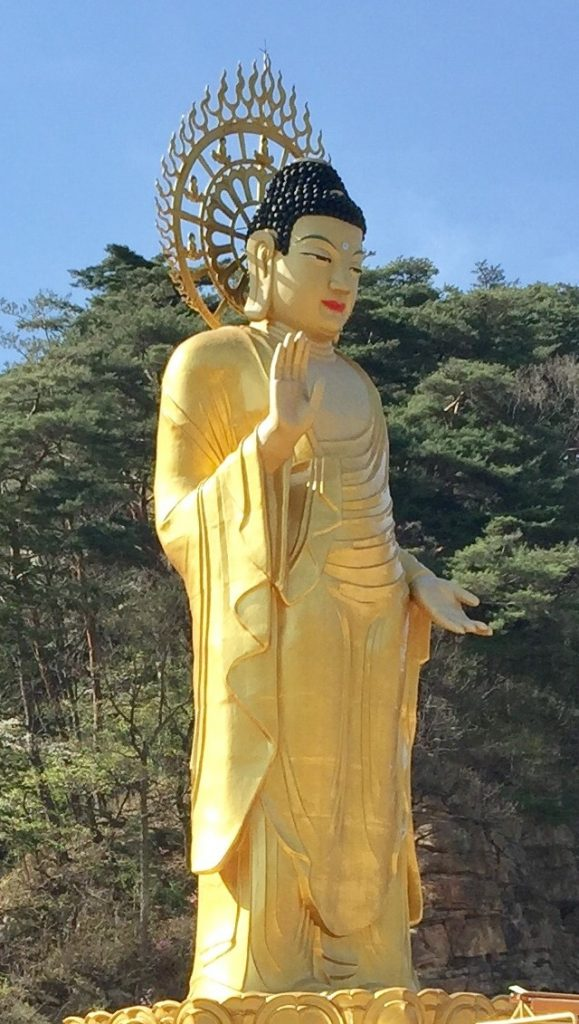 A large golden buddha statue