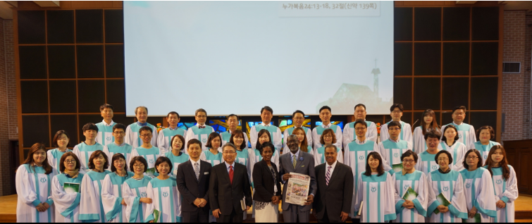 A group photo with members of the church in Korea