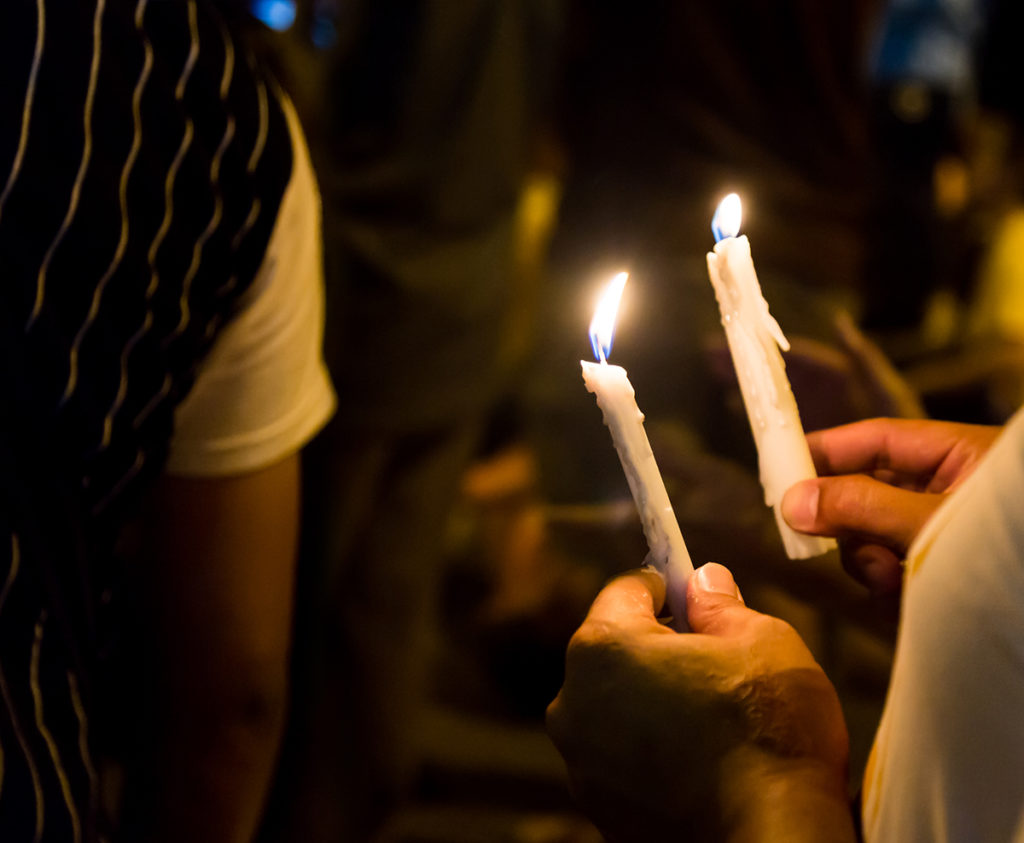 Prayer vigil with candles